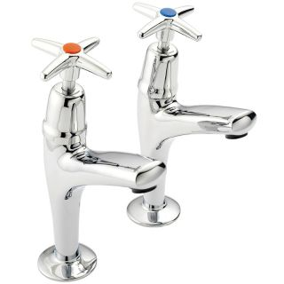 Cross Top - High Neck Kitchen Tap Pair